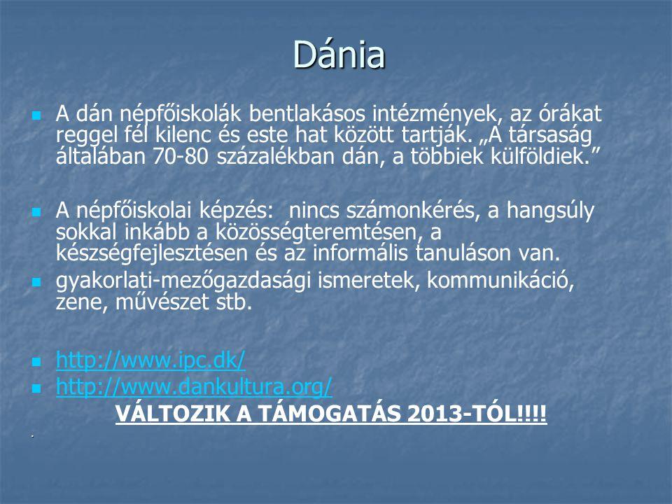 Dánia A dán népfőiskolák bentlakásos intézmények, az órákat reggel fél kilenc és este hat között tartják.