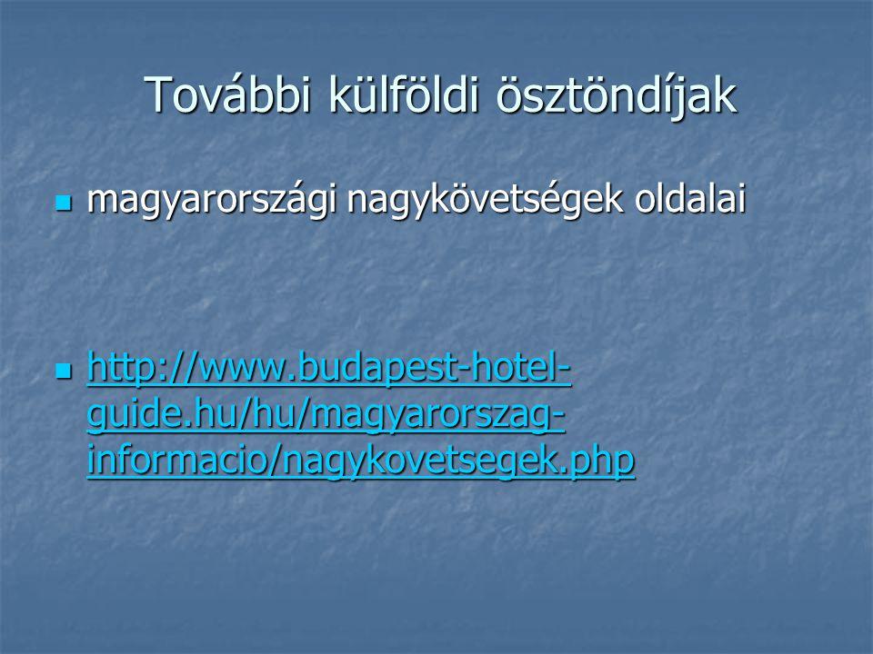 További külföldi ösztöndíjak magyarországi nagykövetségek oldalai magyarországi nagykövetségek oldalai http://www.budapest-hotel- guide.hu/hu/magyarorszag- informacio/nagykovetsegek.php http://www.budapest-hotel- guide.hu/hu/magyarorszag- informacio/nagykovetsegek.php http://www.budapest-hotel- guide.hu/hu/magyarorszag- informacio/nagykovetsegek.php http://www.budapest-hotel- guide.hu/hu/magyarorszag- informacio/nagykovetsegek.php