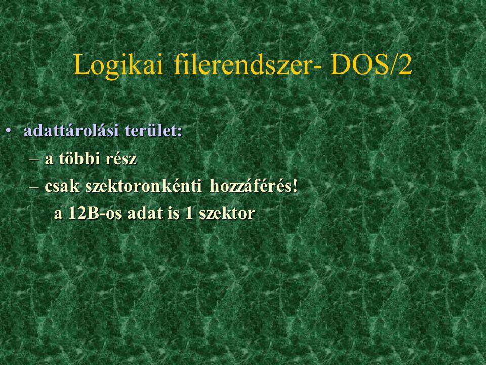 Logikai filerendszer- DOS: gyökérkönyvtár -rootgyökérkönyvtár -root –itt 3 bejegyzéstípus: file, könyvtár, lemezcímke –fizikailag a FAT után, 32B Mére