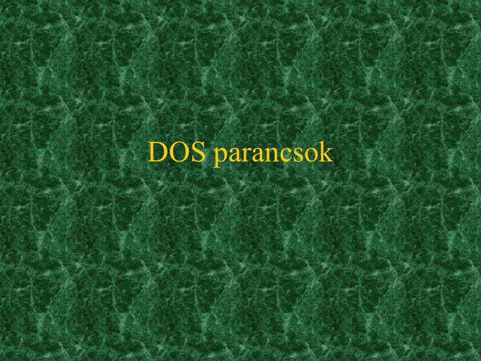 Az MS-DOS részei Boot-rekord:DOS betöltés IO.SYSkapcsolattartás a BIOSszal, annak kiterjesztése MSDOS.SYSkapcsolattartás a felhasználói pr.- okkal: –f