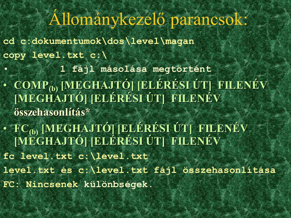 Állománykezelő parancsok: COPY CON (b) [MEGHAJTÓ] [ELÉRÉSI ÚT] FILENÉV szöveges állomány létrehozásaCOPY CON (b) [MEGHAJTÓ] [ELÉRÉSI ÚT] FILENÉV szöve