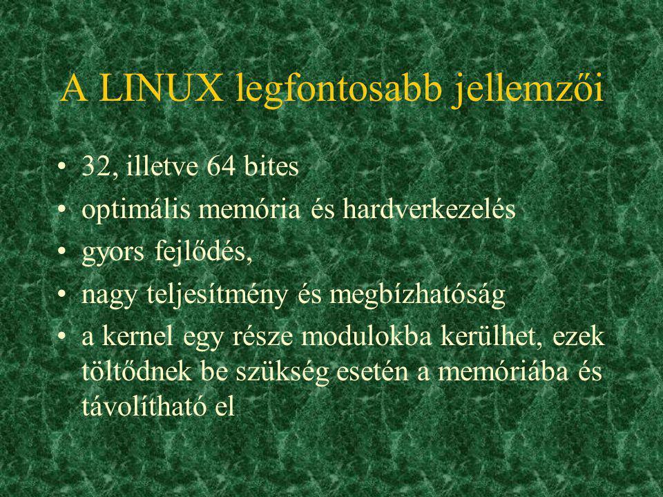 Az operációs rendszerek összetevői Kernel (mag) –az op.rsz. lelke: –periféria vezérlése, rendszer működésének szabályozása –kereskedelmi op.rsz-eknél