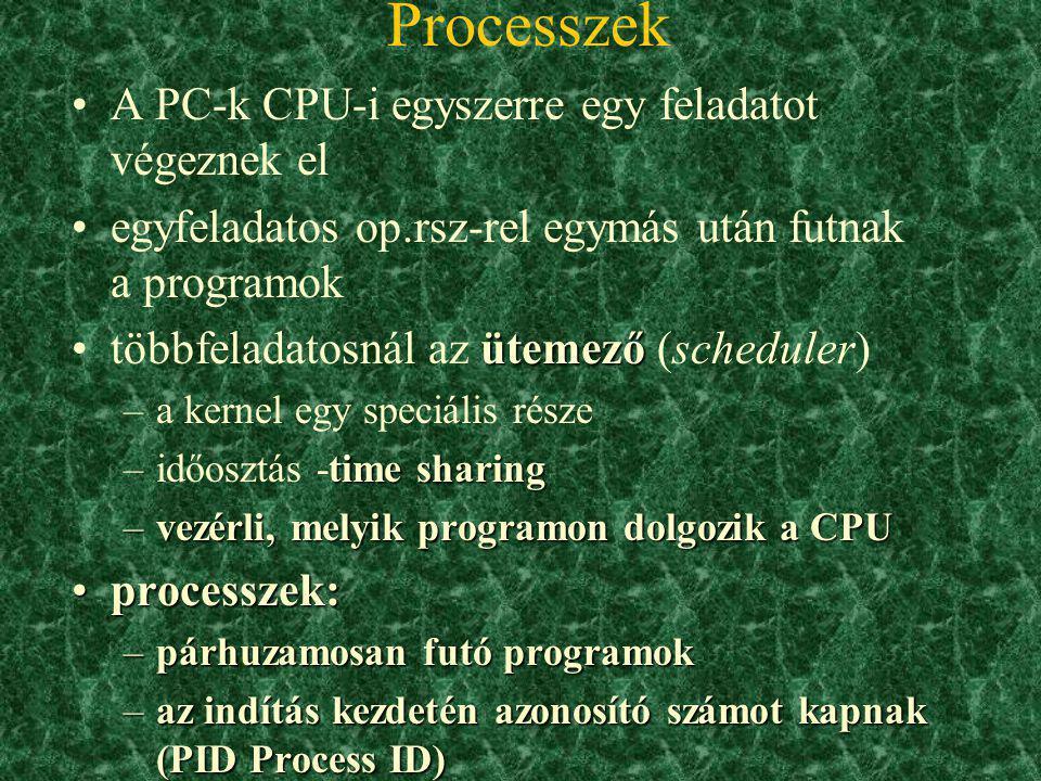Az op.rsz. betöltése (boot) 1. A ROM-ból betöltődő BIOS megvizsgálja, hogy minden hardver működik-e bootmanager2. Megkeresi az op.rsz. helyét és betöl