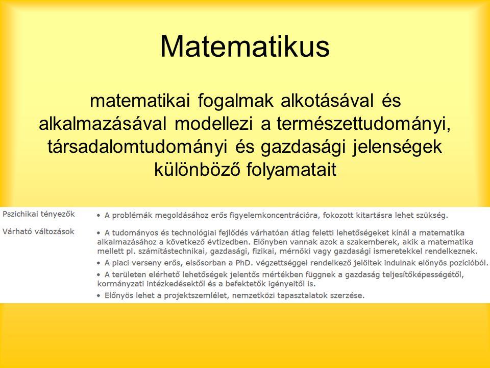 Matematikus matematikai fogalmak alkotásával és alkalmazásával modellezi a természettudományi, társadalomtudományi és gazdasági jelenségek különböző folyamatait