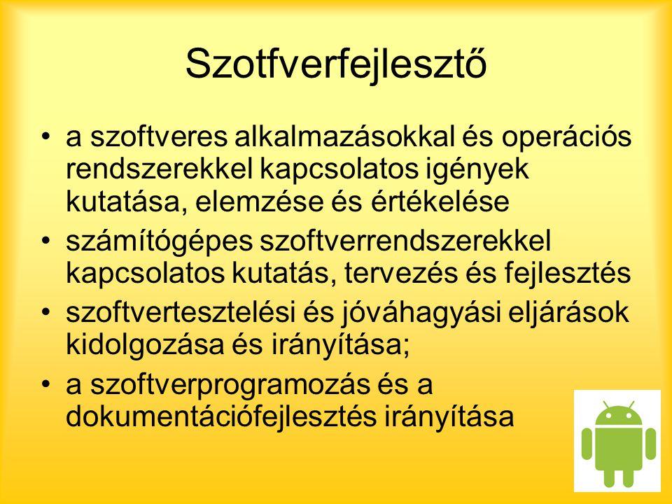 Szotfverfejlesztő a szoftveres alkalmazásokkal és operációs rendszerekkel kapcsolatos igények kutatása, elemzése és értékelése számítógépes szoftverrendszerekkel kapcsolatos kutatás, tervezés és fejlesztés szoftvertesztelési és jóváhagyási eljárások kidolgozása és irányítása; a szoftverprogramozás és a dokumentációfejlesztés irányítása