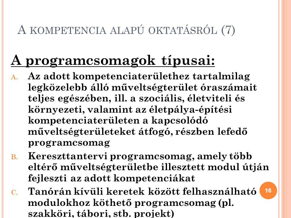 A KOMPETENCIA ALAPÚ OKTATÁSRÓL (7) A programcsomagok típusai: A.
