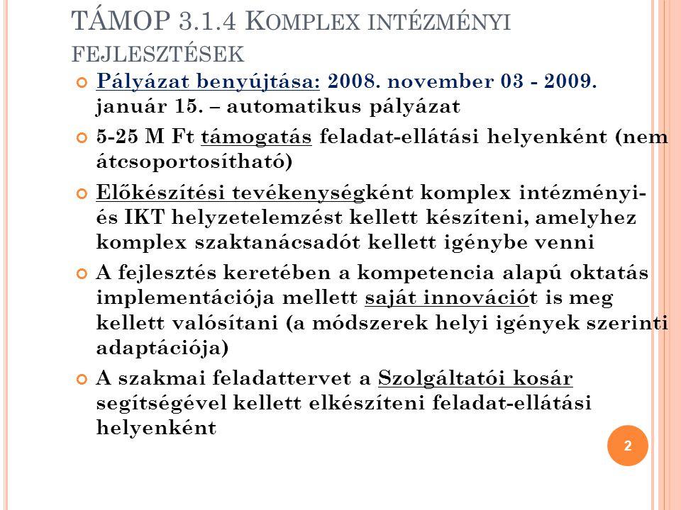 2 TÁMOP 3.1.4 K OMPLEX INTÉZMÉNYI FEJLESZTÉSEK Pályázat benyújtása: 2008.