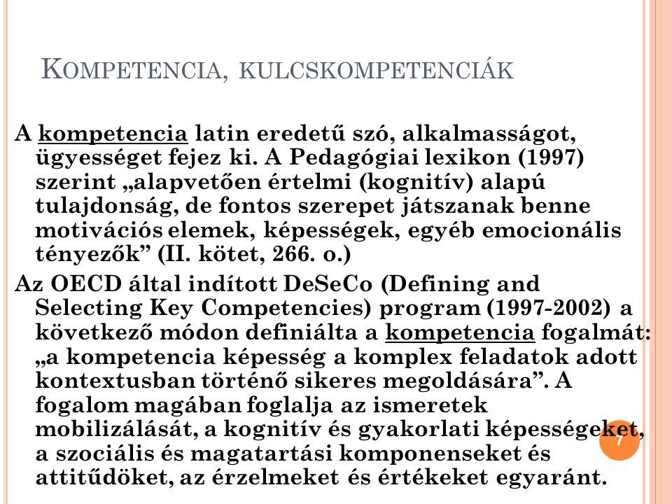 K OMPETENCIA, KULCSKOMPETENCIÁK A kompetencia latin eredetű szó, alkalmasságot, ügyességet fejez ki.