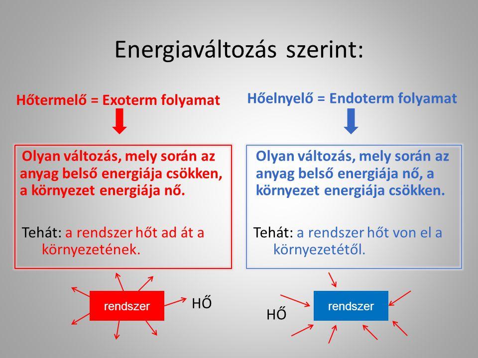Energiaváltozás szerint: Hőtermelő = Exoterm folyamat Hőelnyelő = Endoterm folyamat Olyan változás, mely során az anyag belső energiája csökken, a kör