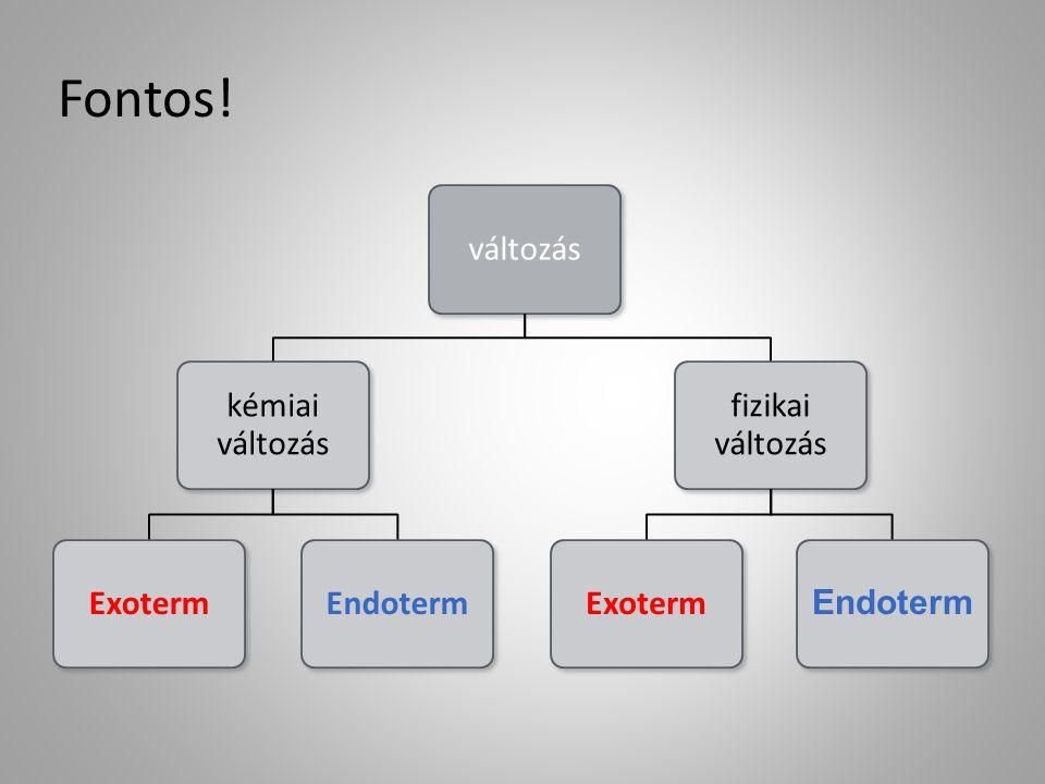 Fontos! változás kémiai változás ExotermEndoterm fizikai változás Exoterm Endoterm