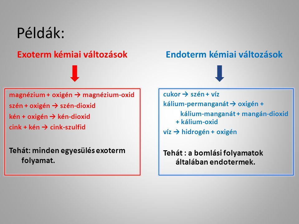 Példák: Exoterm kémiai változások Endoterm kémiai változások magnézium + oxigén → magnézium-oxid szén + oxigén → szén-dioxid kén + oxigén → kén-dioxid