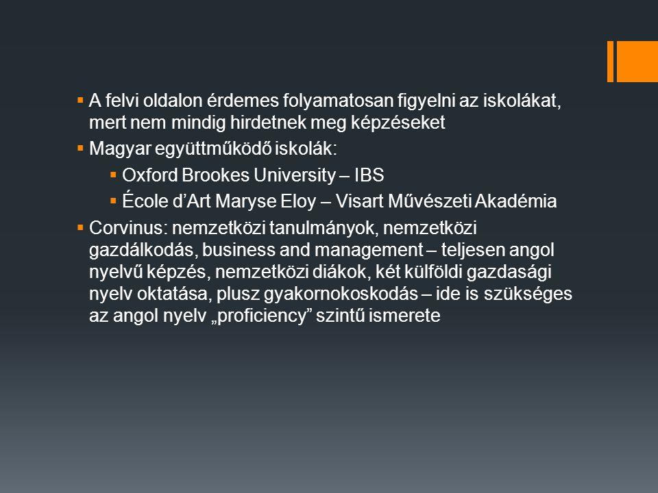  A felvi oldalon érdemes folyamatosan figyelni az iskolákat, mert nem mindig hirdetnek meg képzéseket  Magyar együttműködő iskolák:  Oxford Brookes
