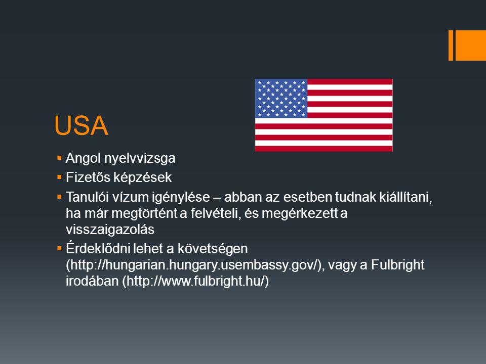 USA  Angol nyelvvizsga  Fizetős képzések  Tanulói vízum igénylése – abban az esetben tudnak kiállítani, ha már megtörtént a felvételi, és megérkeze