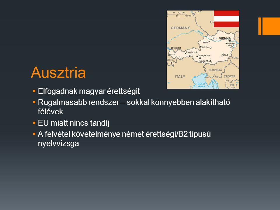 Ausztria  Elfogadnak magyar érettségit  Rugalmasabb rendszer – sokkal könnyebben alakítható félévek  EU miatt nincs tandíj  A felvétel követelmény
