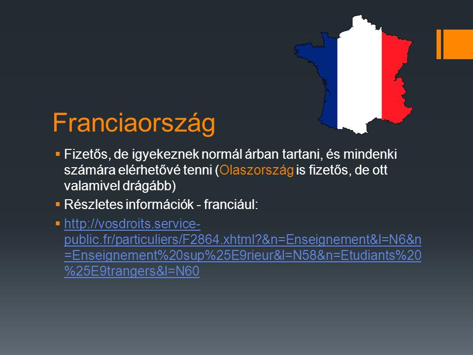 Franciaország  Fizetős, de igyekeznek normál árban tartani, és mindenki számára elérhetővé tenni (Olaszország is fizetős, de ott valamivel drágább) 