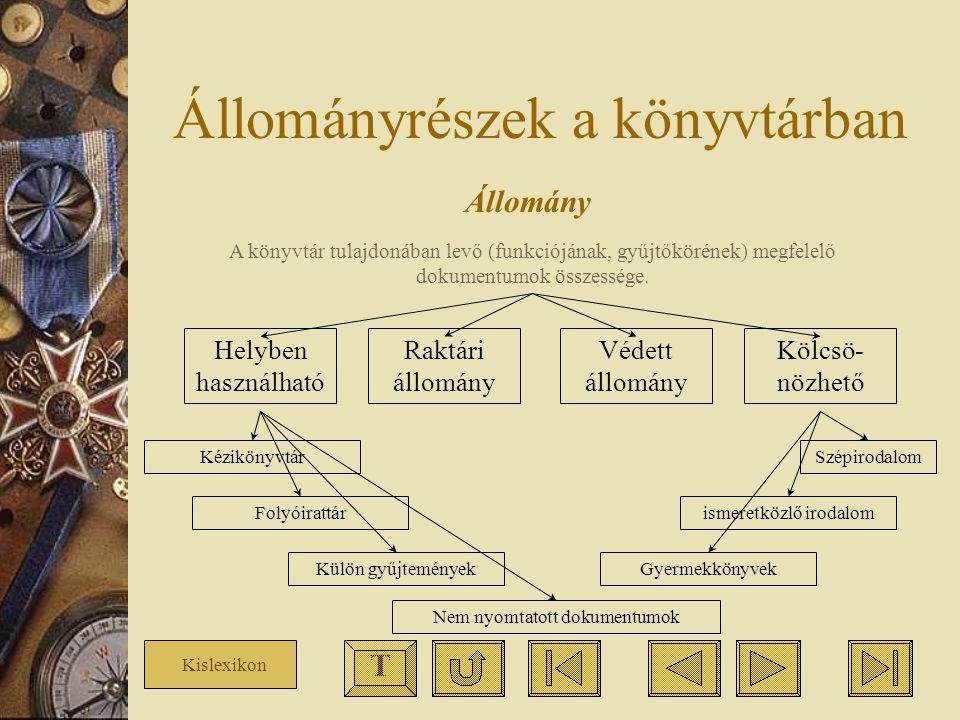 Állományrészek a könyvtárban Állomány A könyvtár tulajdonában levő (funkciójának, gyűjtőkörének) megfelelő dokumentumok összessége. Helyben használhat