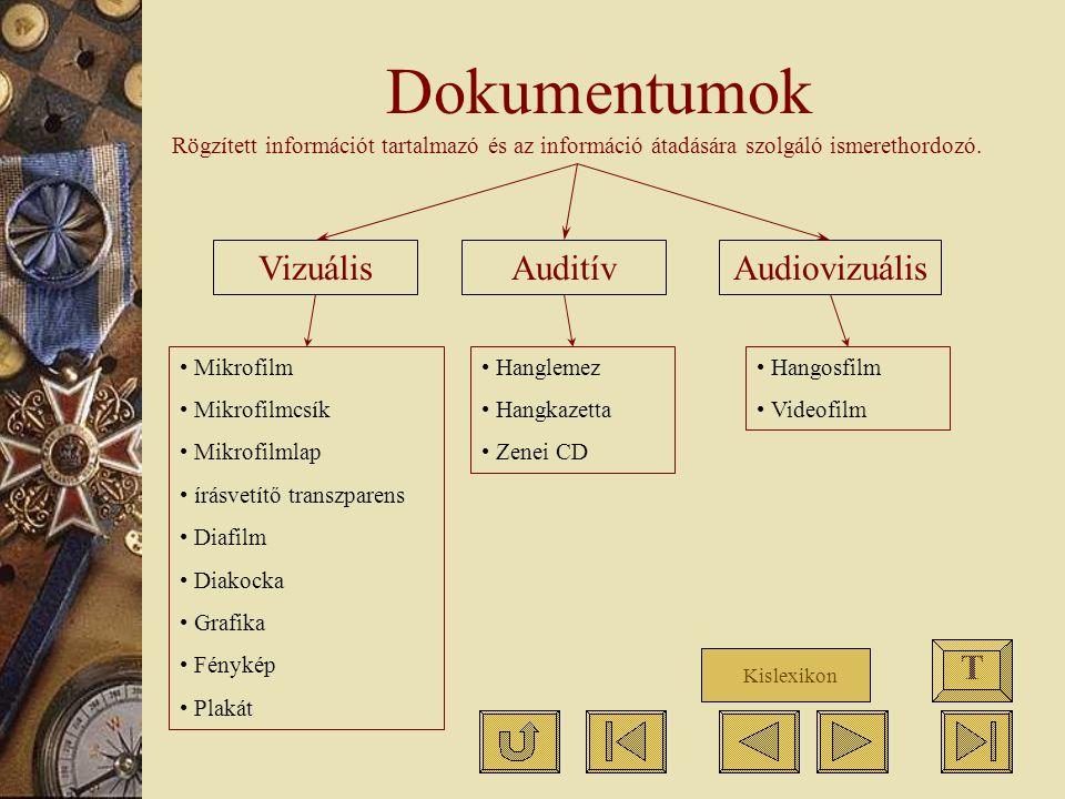 Dokumentumok VizuálisAuditívAudiovizuális Mikrofilm Mikrofilmcsík Mikrofilmlap írásvetítő transzparens Diafilm Diakocka Grafika Fénykép Plakát Hanglem