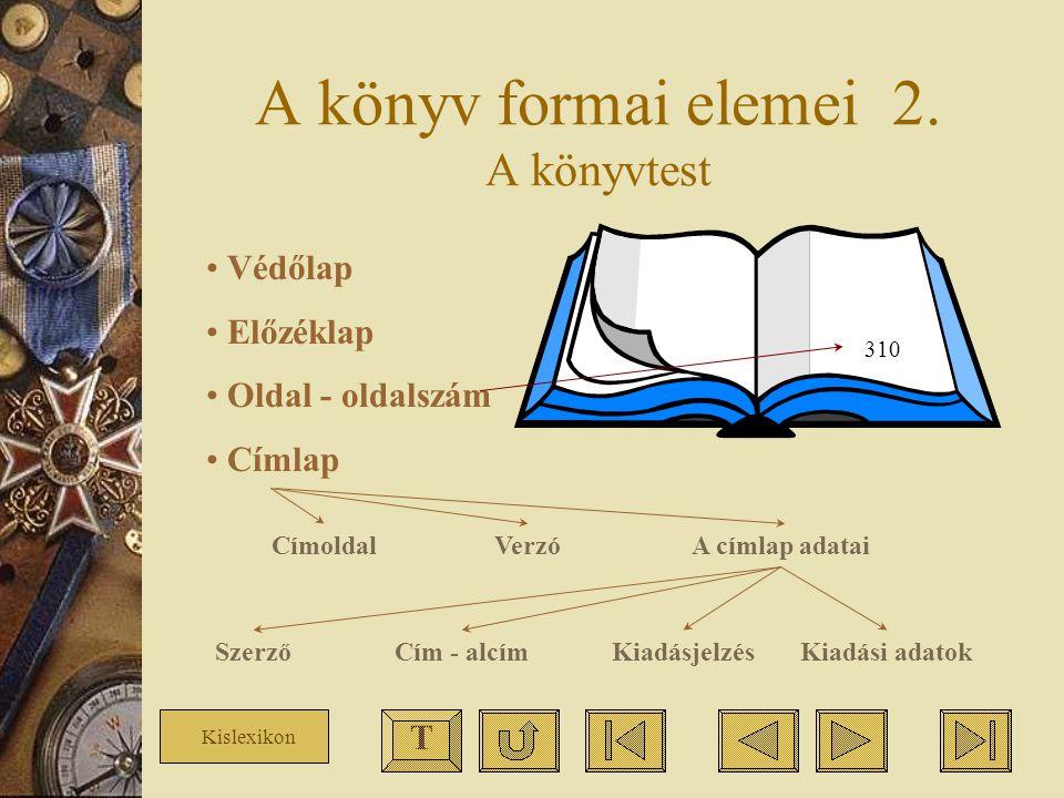 A könyv formai elemei 2. A könyvtest Védőlap Előzéklap Oldal - oldalszám Címlap 310 CímoldalVerzóA címlap adatai Kiadási adatokKiadásjelzésCím - alcím