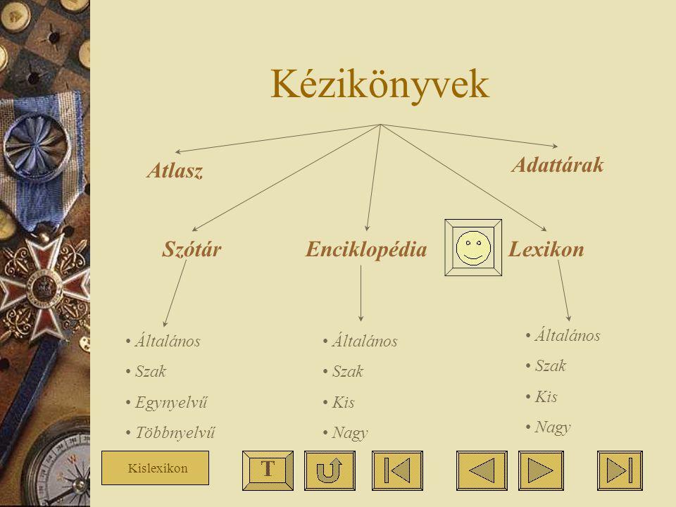 Kézikönyvek Atlasz SzótárEnciklopédiaLexikon Adattárak Általános Szak Egynyelvű Többnyelvű Általános Szak Kis Nagy Általános Szak Kis Nagy T Kislexiko