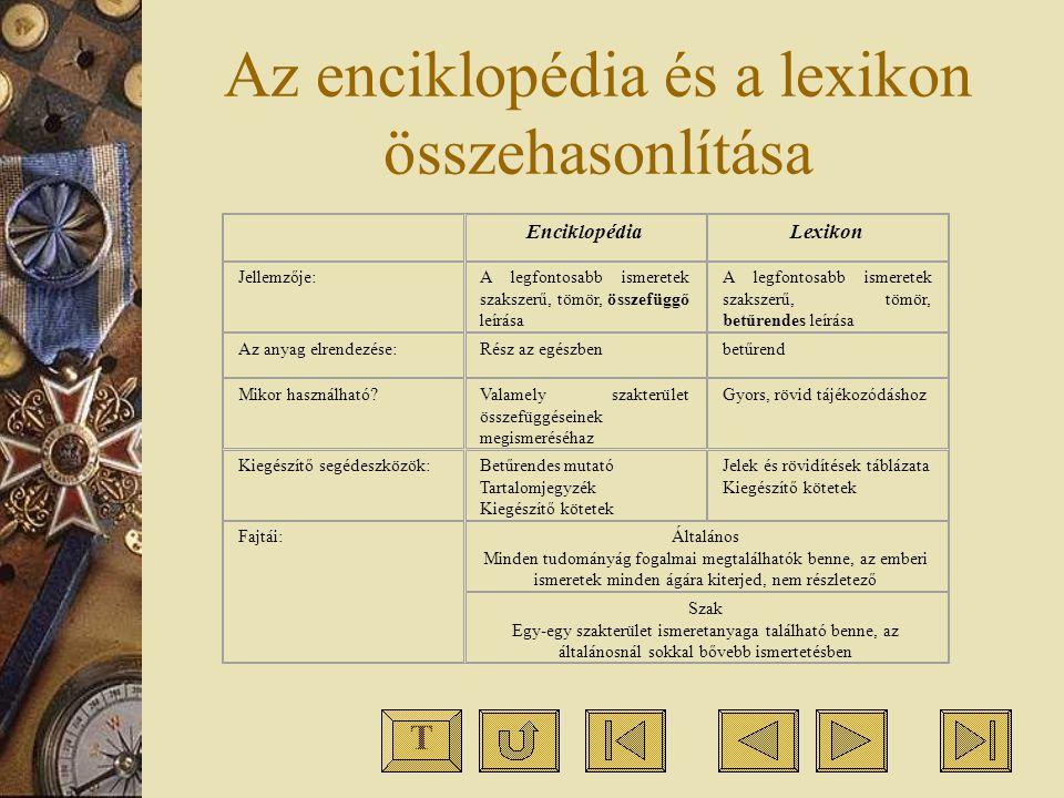 Az enciklopédia és a lexikon összehasonlítása EnciklopédiaLexikon Jellemzője:A legfontosabb ismeretek szakszerű, tömör, összefüggő leírása A legfontos