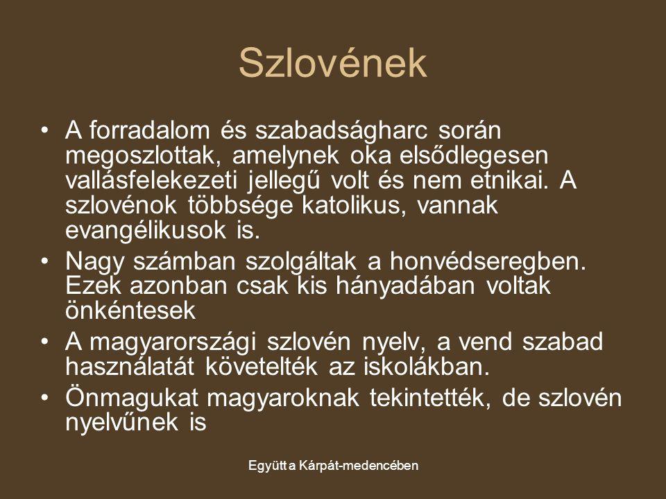 Együtt a Kárpát-medencében Szlovének A forradalom és szabadságharc során megoszlottak, amelynek oka elsődlegesen vallásfelekezeti jellegű volt és nem