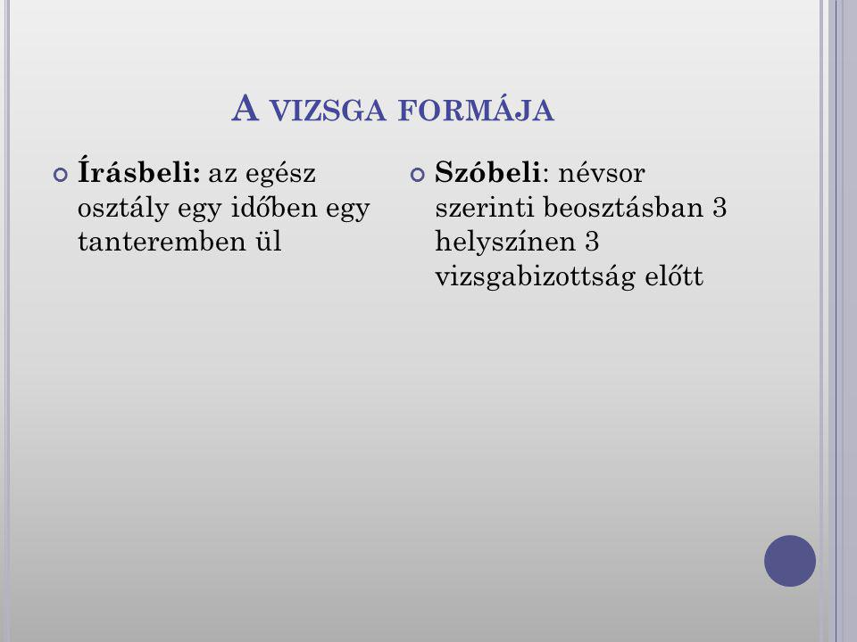 A VIZSGA FORMÁJA Írásbeli: az egész osztály egy időben egy tanteremben ül Szóbeli : névsor szerinti beosztásban 3 helyszínen 3 vizsgabizottság előtt