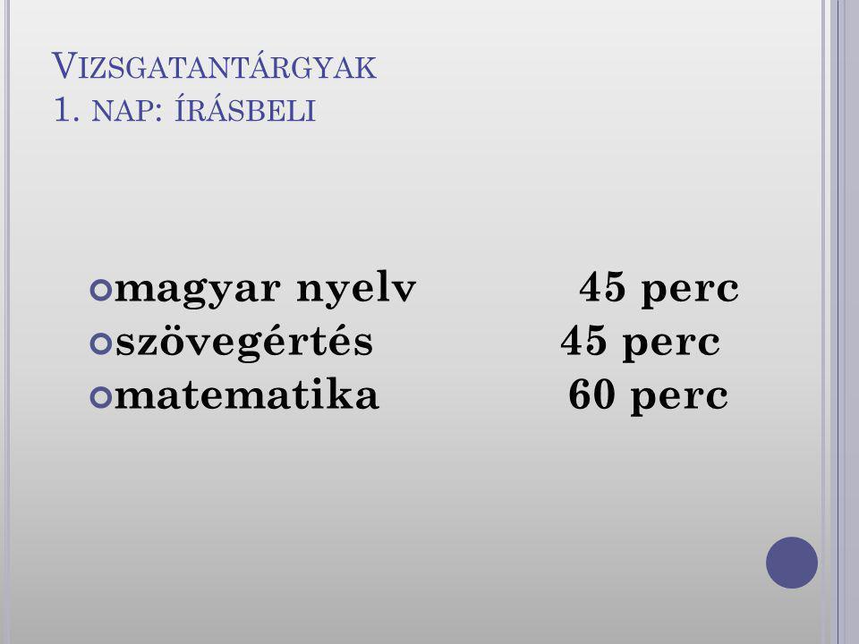V IZSGATANTÁRGYAK 1. NAP : ÍRÁSBELI magyar nyelv 45 perc szövegértés 45 perc matematika 60 perc