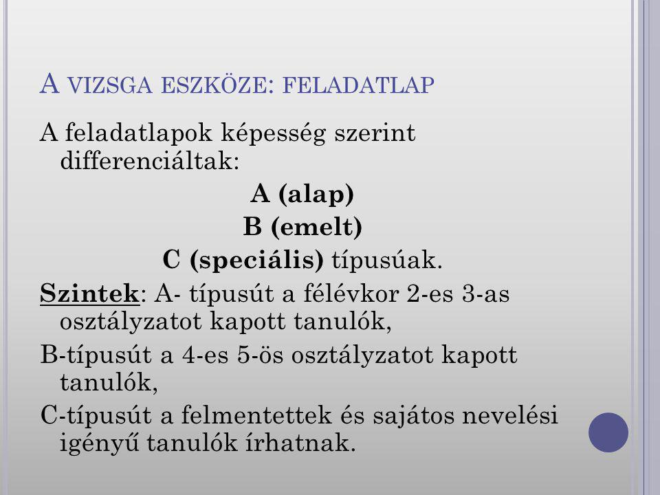 A VIZSGA ESZKÖZE : FELADATLAP A feladatlapok képesség szerint differenciáltak: A (alap) B (emelt) C (speciális) típusúak. Szintek : A- típusút a félév