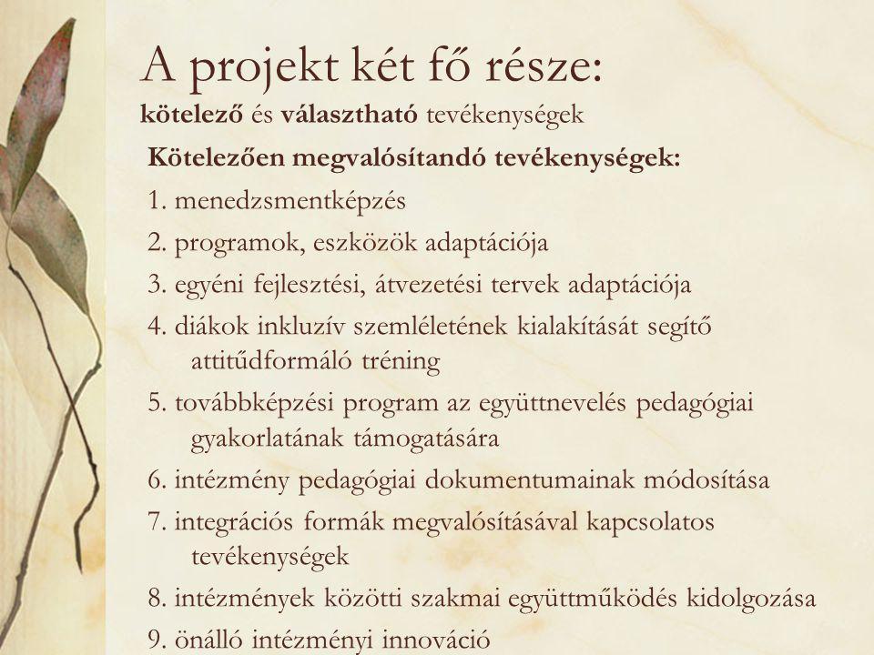 A projekt két fő része: kötelező és választható tevékenységek Kötelezően megvalósítandó tevékenységek: 1.