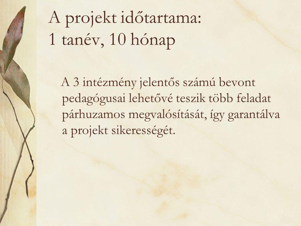 A projekt időtartama: 1 tanév, 10 hónap A 3 intézmény jelentős számú bevont pedagógusai lehetővé teszik több feladat párhuzamos megvalósítását, így garantálva a projekt sikerességét.