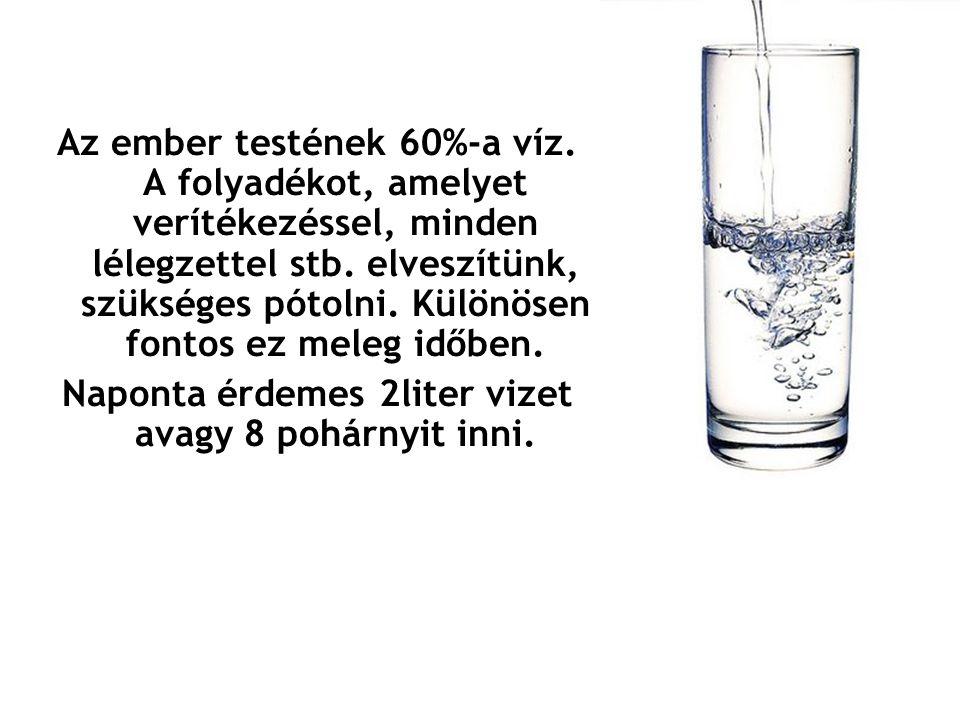 Az ember testének 60%-a víz. A folyadékot, amelyet verítékezéssel, minden lélegzettel stb. elveszítünk, szükséges pótolni. Különösen fontos ez meleg i