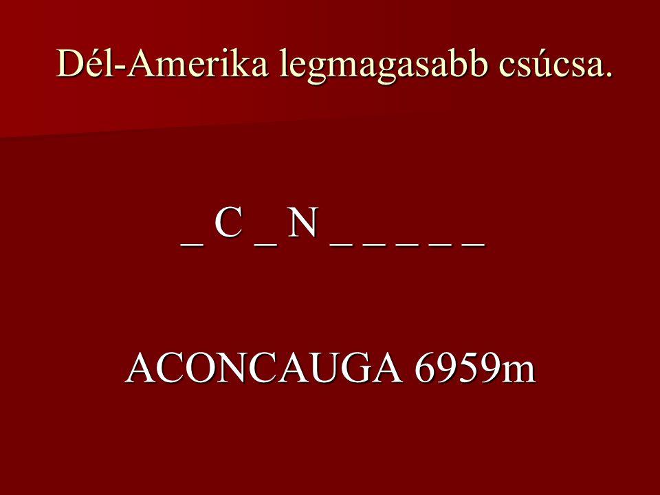 Dél-Amerika legmagasabb csúcsa. Dél-Amerika legmagasabb csúcsa. _ C _ N _ _ _ _ _ ACONCAUGA 6959m