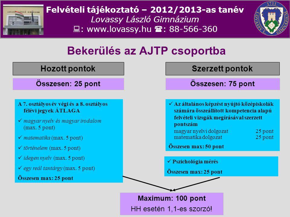 Felvételi tájékoztató – 2012/2013-as tanév Lovassy László Gimnázium  : www.lovassy.hu  : 88-566-360 Bekerülés az AJTP csoportba Hozott pontokSzerzet