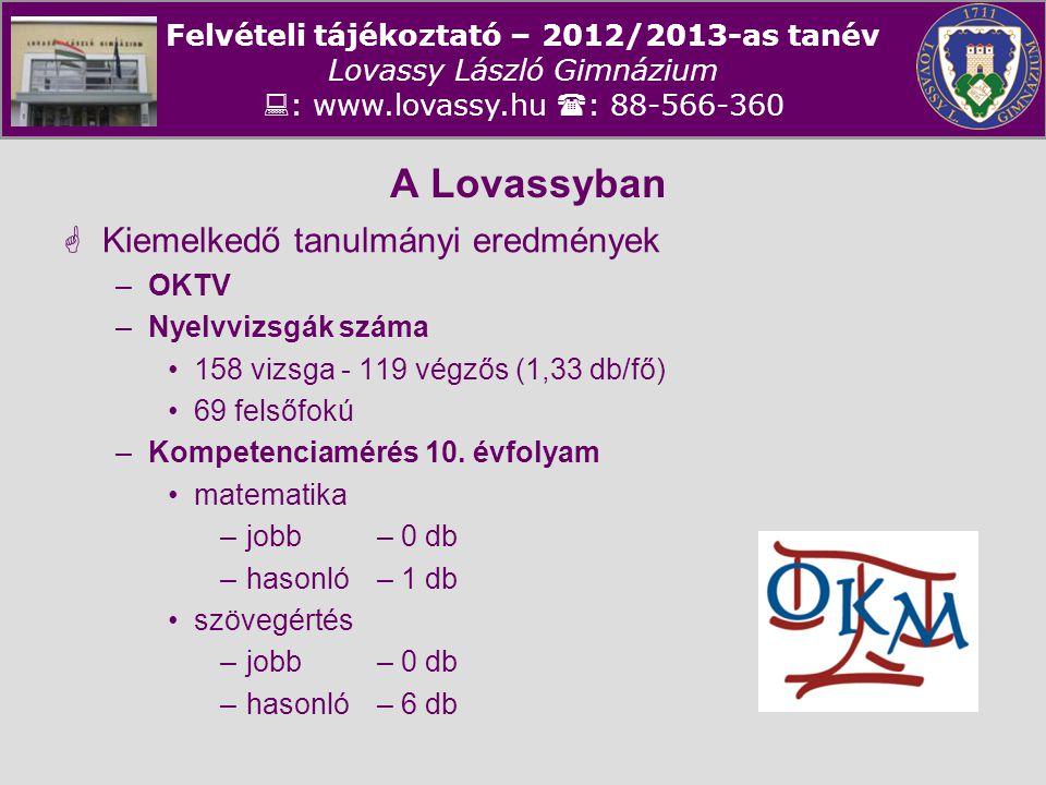 Felvételi tájékoztató – 2012/2013-as tanév Lovassy László Gimnázium  : www.lovassy.hu  : 88-566-360 A Lovassyban  Kiemelkedő tanulmányi eredmények