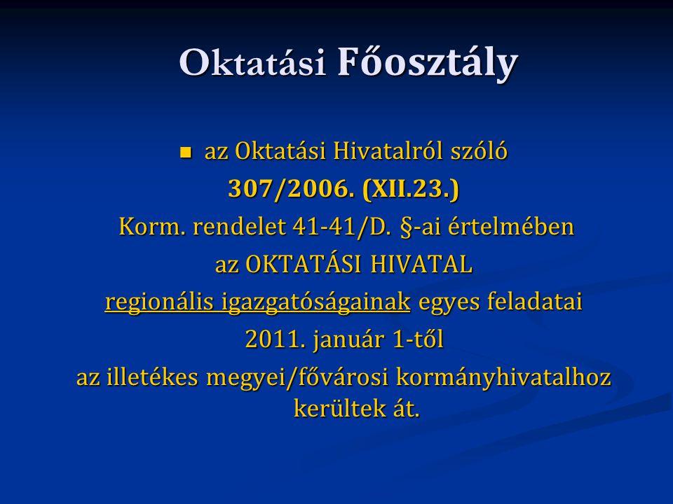 Oktatási Főosztály az Oktatási Hivatalról szóló az Oktatási Hivatalról szóló 307/2006. (XII.23.) Korm. rendelet 41-41/D. §-ai értelmében Korm. rendele