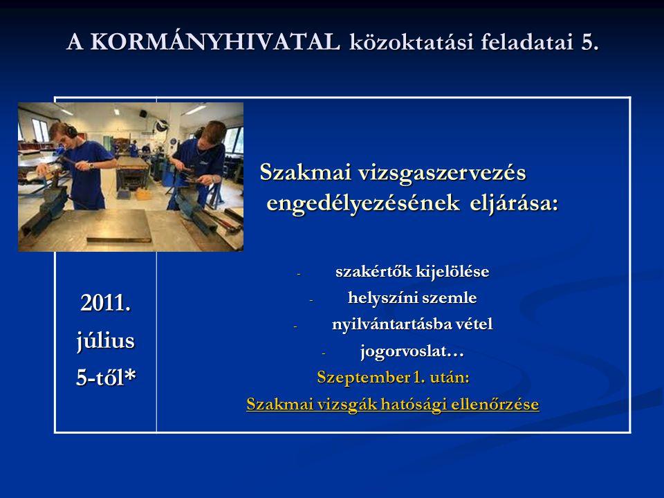 A KORMÁNYHIVATAL közoktatási feladatai 5. 2011.július5-től* Szakmai vizsgaszervezés engedélyezésének eljárása: - szakértők kijelölése - helyszíni szem