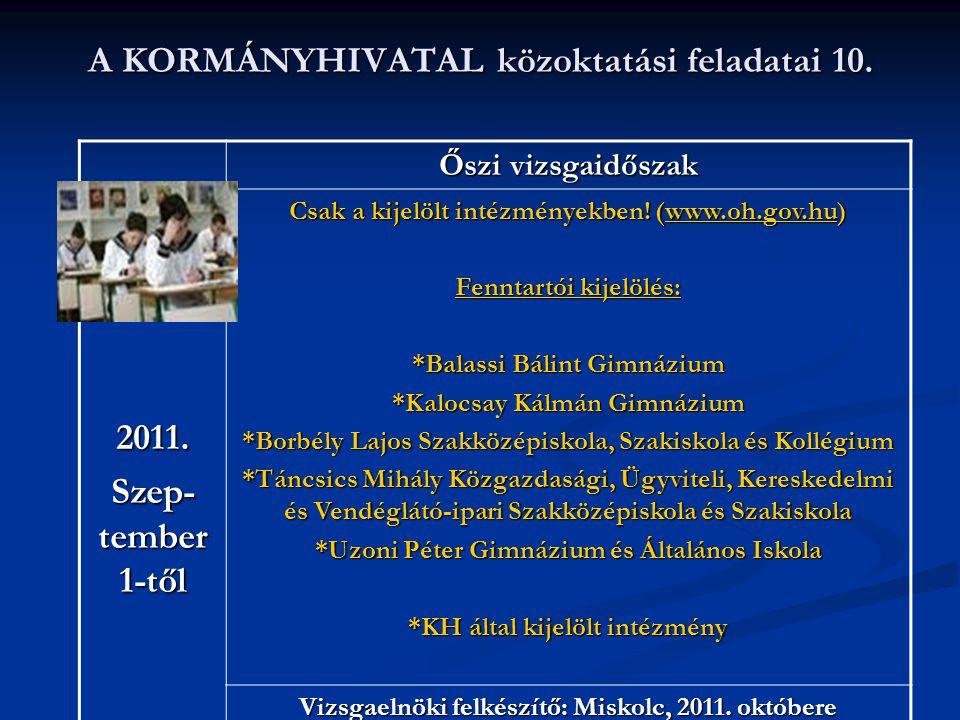 A KORMÁNYHIVATAL közoktatási feladatai 10. 2011. Szep- tember 1-től Őszi vizsgaidőszak Csak a kijelölt intézményekben! (www.oh.gov.hu) www.oh.gov.hu F