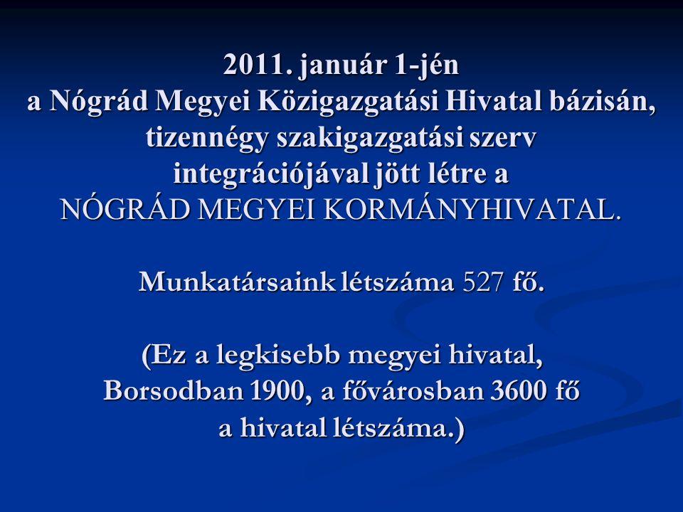 2011. január 1-jén a Nógrád Megyei Közigazgatási Hivatal bázisán, tizennégy szakigazgatási szerv integrációjával jött létre a NÓGRÁD MEGYEI KORMÁNYHIV