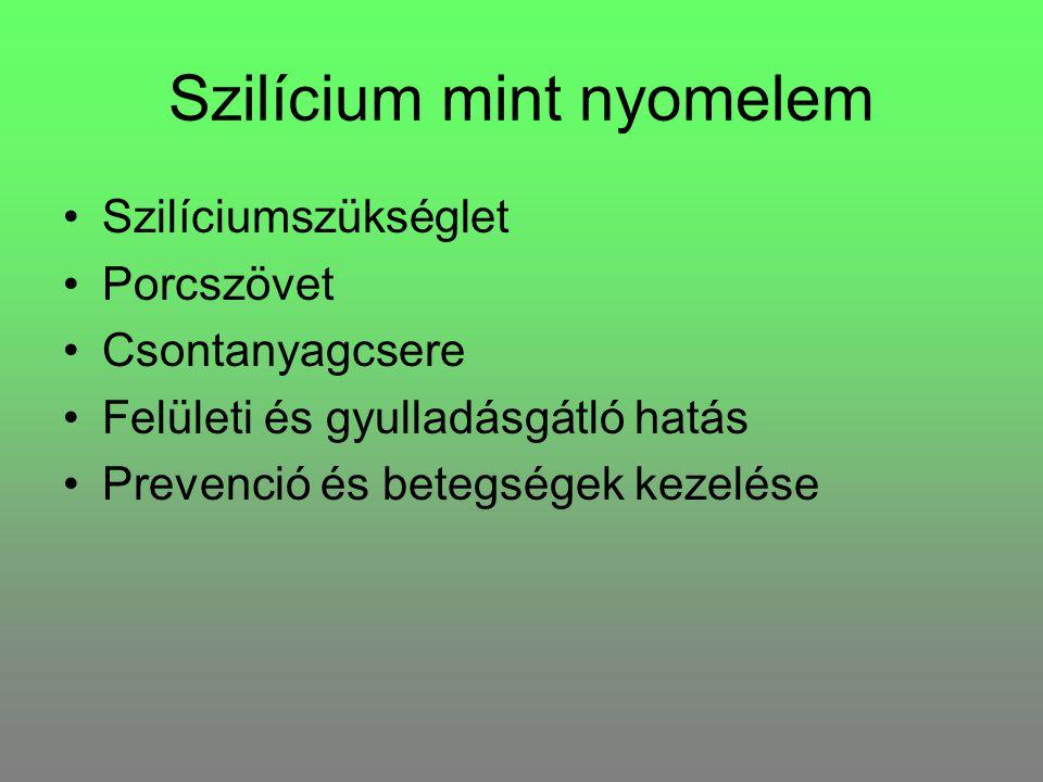 Szilícium mint nyomelem Szilíciumszükséglet Porcszövet Csontanyagcsere Felületi és gyulladásgátló hatás Prevenció és betegségek kezelése