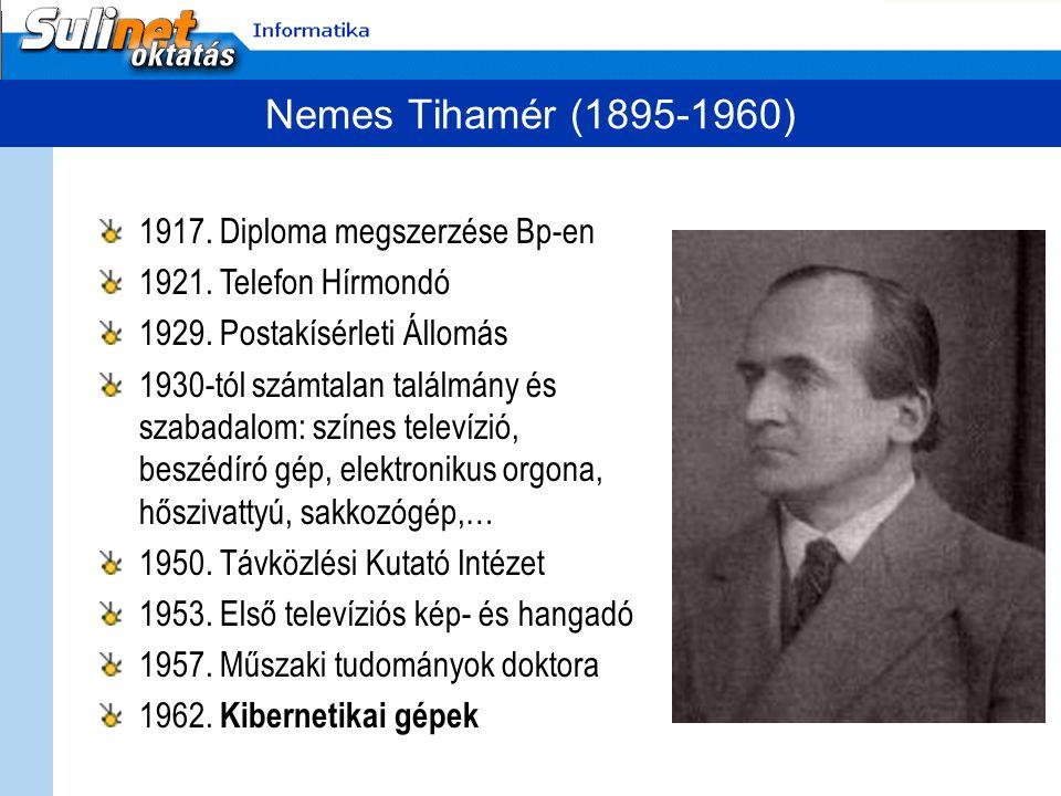 Nemes Tihamér (1895-1960) 1917. Diploma megszerzése Bp-en 1921. Telefon Hírmondó 1929. Postakísérleti Állomás 1930-tól számtalan találmány és szabadal