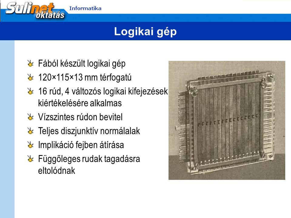 Logikai gép Fából készült logikai gép 120×115×13 mm térfogatú 16 rúd, 4 változós logikai kifejezések kiértékelésére alkalmas Vízszintes rúdon bevitel