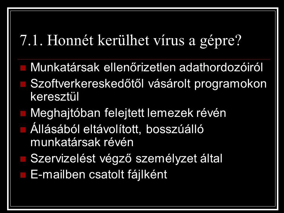 7.1. Honnét kerülhet vírus a gépre? Munkatársak ellenőrizetlen adathordozóiról Szoftverkereskedőtől vásárolt programokon keresztül Meghajtóban felejte