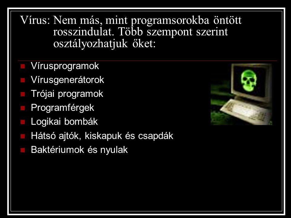 Vírus: Nem más, mint programsorokba öntött rosszindulat. Több szempont szerint osztályozhatjuk őket: Vírusprogramok Vírusgenerátorok Trójai programok
