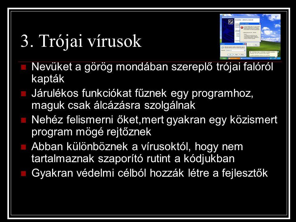 3. Trójai vírusok Nevüket a görög mondában szereplő trójai falóról kapták Járulékos funkciókat fűznek egy programhoz, maguk csak álcázásra szolgálnak