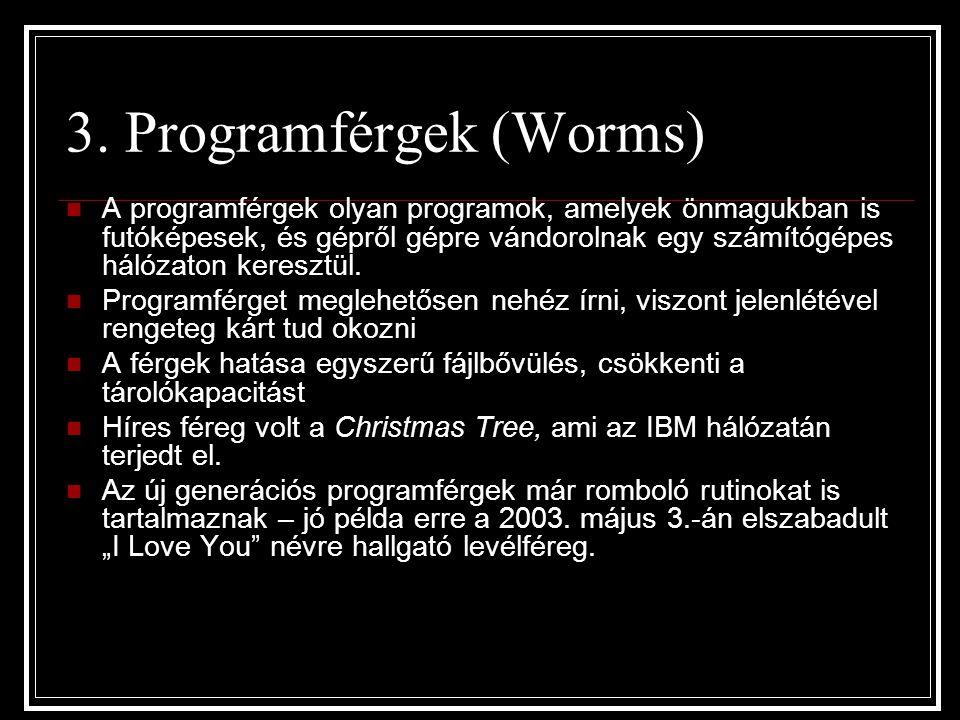 3. Programférgek (Worms) A programférgek olyan programok, amelyek önmagukban is futóképesek, és gépről gépre vándorolnak egy számítógépes hálózaton ke