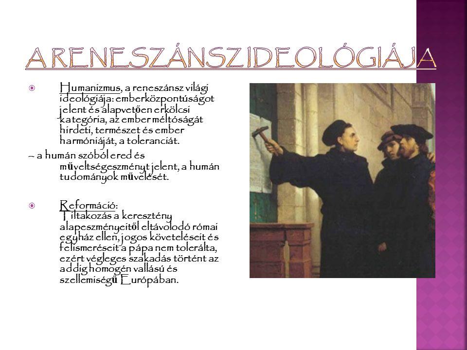  A legszebb reneszánsz embereszmény a polihisztor, az univerzális ember (Michelangelo, Leonardo).
