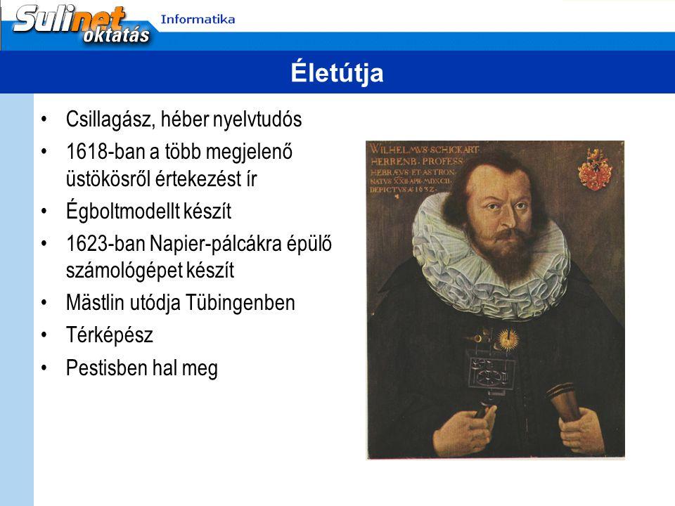 Életútja Csillagász, héber nyelvtudós 1618-ban a több megjelenő üstökösről értekezést ír Égboltmodellt készít 1623-ban Napier-pálcákra épülő számológépet készít Mästlin utódja Tübingenben Térképész Pestisben hal meg