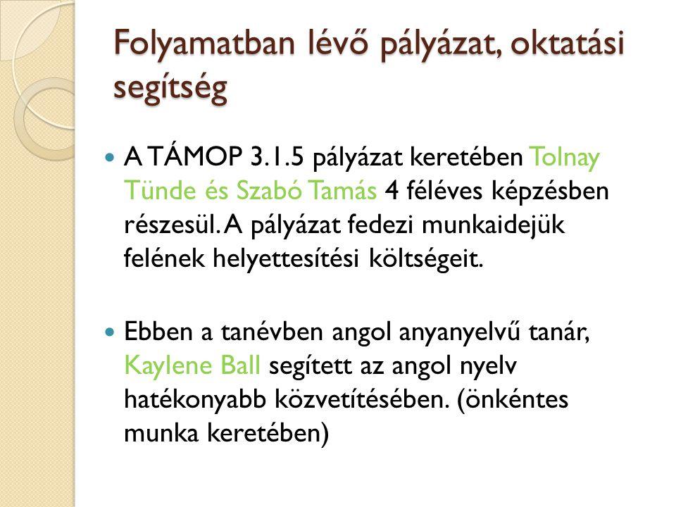 Folyamatban lévő pályázat, oktatási segítség A TÁMOP 3.1.5 pályázat keretében Tolnay Tünde és Szabó Tamás 4 féléves képzésben részesül. A pályázat fed