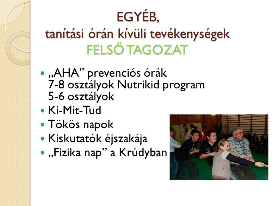 """EGYÉB, tanítási órán kívüli tevékenységek FELSŐ TAGOZAT """"AHA"""" prevenciós órák 7-8 osztályok Nutrikid program 5-6 osztályok Ki-Mit-Tud Tökös napok Kisk"""