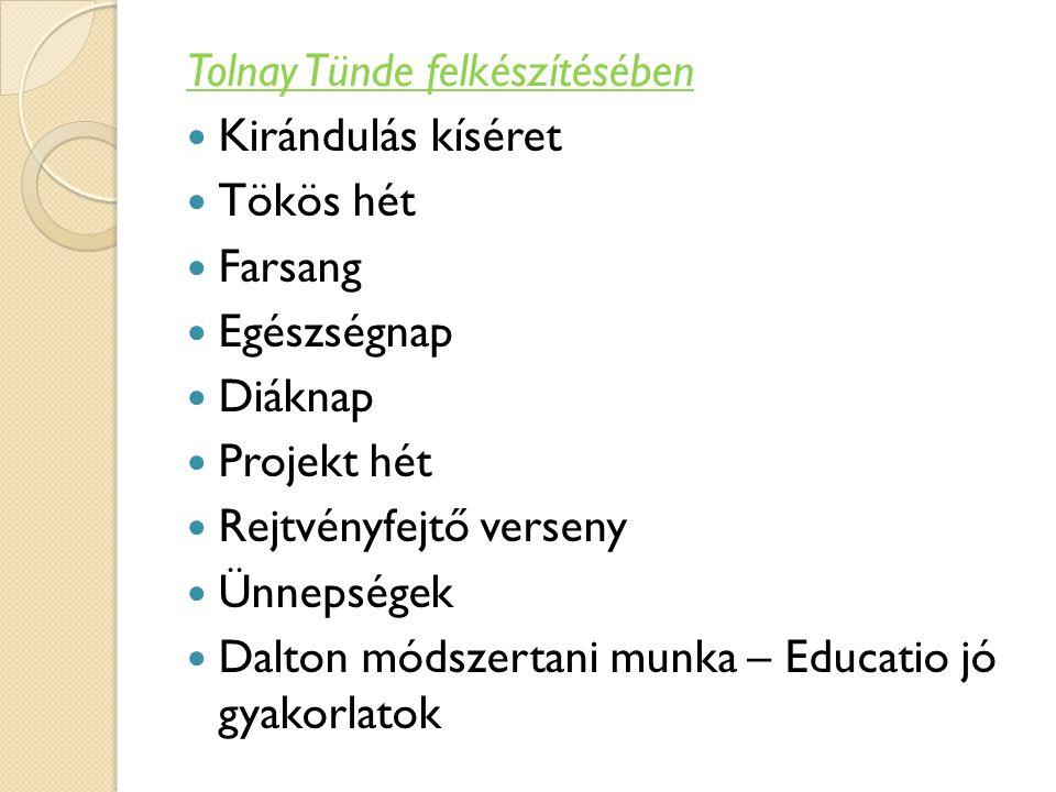 Tolnay Tünde felkészítésében Kirándulás kíséret Tökös hét Farsang Egészségnap Diáknap Projekt hét Rejtvényfejtő verseny Ünnepségek Dalton módszertani